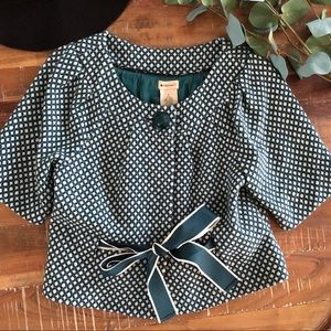 Anthropologie Elevenses Teal Wool Crop Jacket/Top